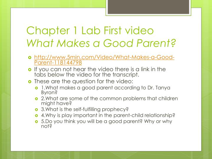 Chapter 1 Lab First video