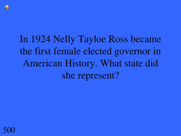 In 1924 Nelly Tayloe Ross became the first female elected governor in American History. What state did she represent?
