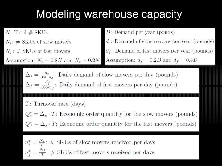 Modeling warehouse capacity