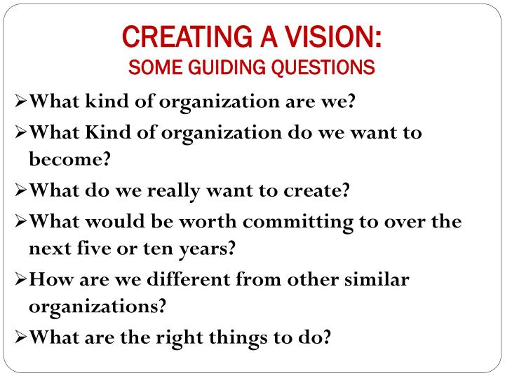 CREATING A VISION: