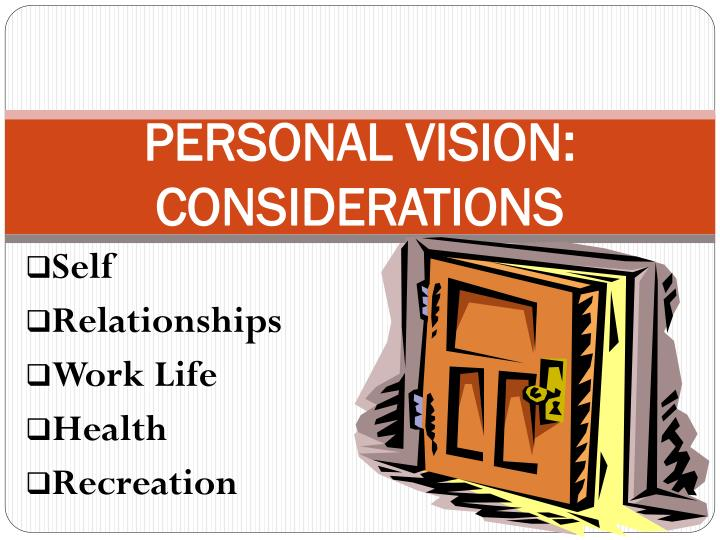 PERSONAL VISION:  CONSIDERATIONS