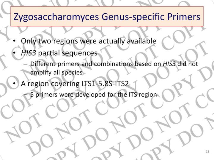 Zygosaccharomyces Genus-specific Primers