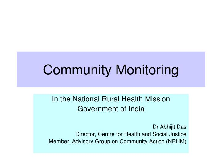 Community Monitoring
