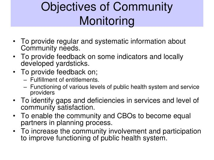 Objectives of Community Monitoring
