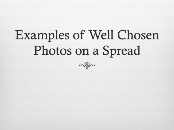 Examples of Well Chosen Photos on a Spread
