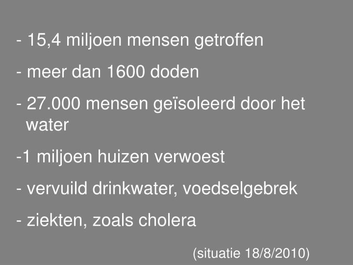 - 15,4 miljoen mensen getroffen