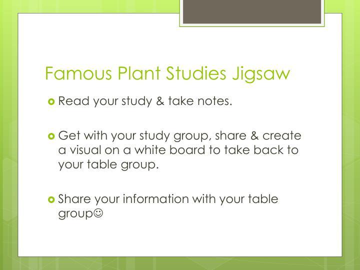 Famous Plant Studies Jigsaw