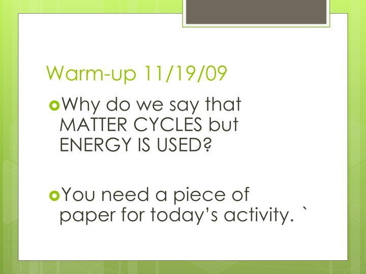 Warm-up 11/19/09
