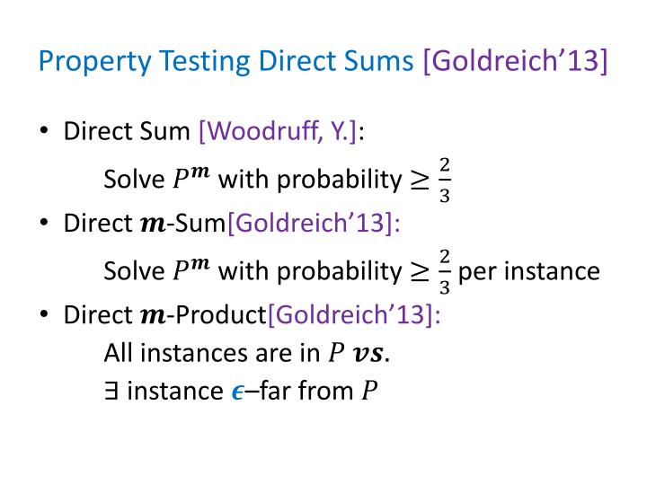 Property Testing Direct Sums