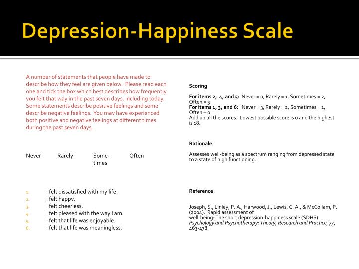 Depression-Happiness Scale