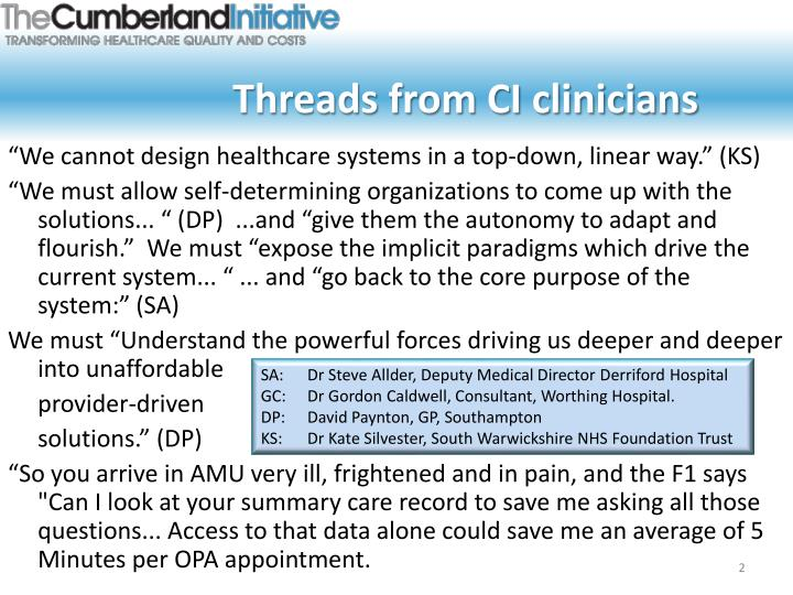 Threads from ci clinicians