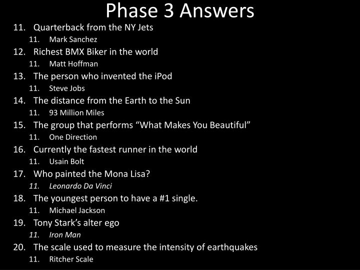 Phase 3 Answers