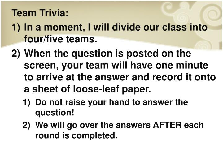 Team Trivia:
