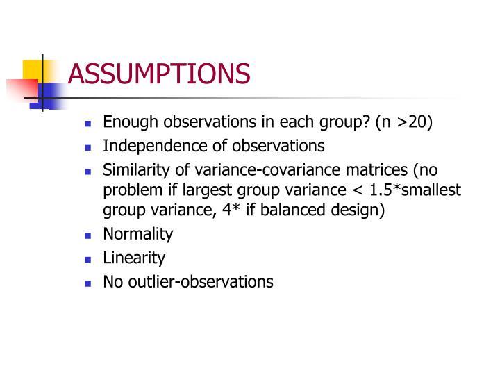 Enough observations in each group? (n >20)