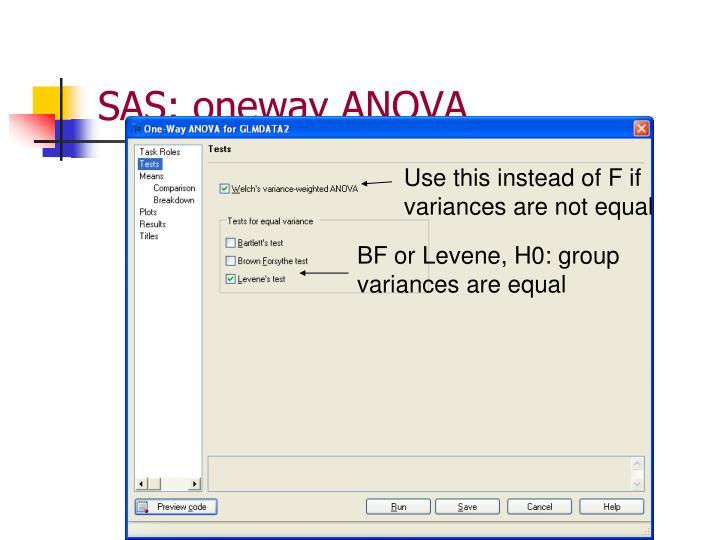 SAS: oneway ANOVA