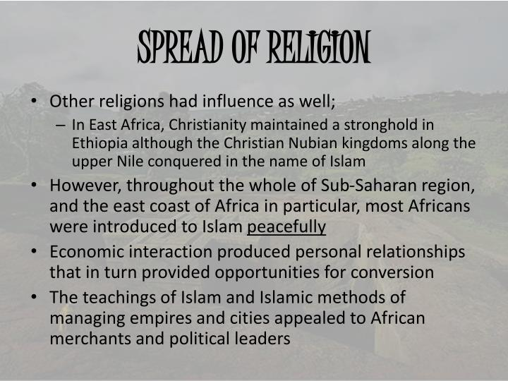 SPREAD OF RELIGION