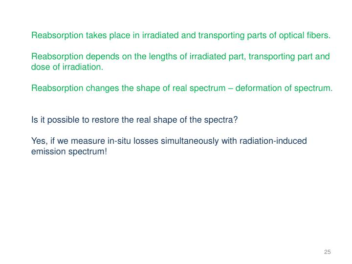 Reabsorption takes place in irradiated and transporting parts of optical fibers.