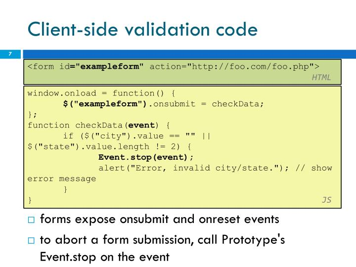 Client-side validation code