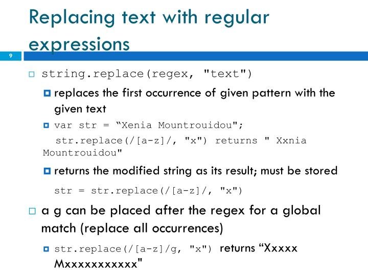 Replacing text with regular expressions