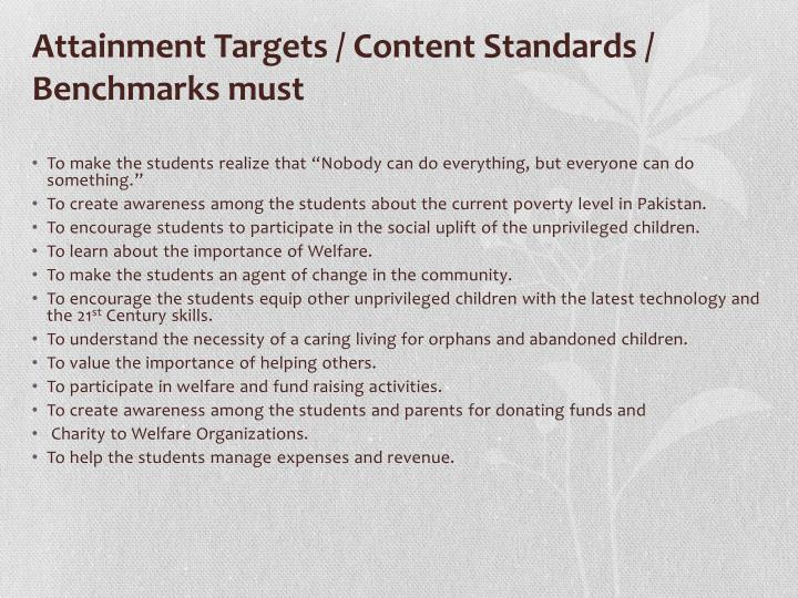 Attainment Targets / Content Standards /