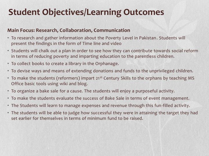 Student Objectives/Learning Outcomes