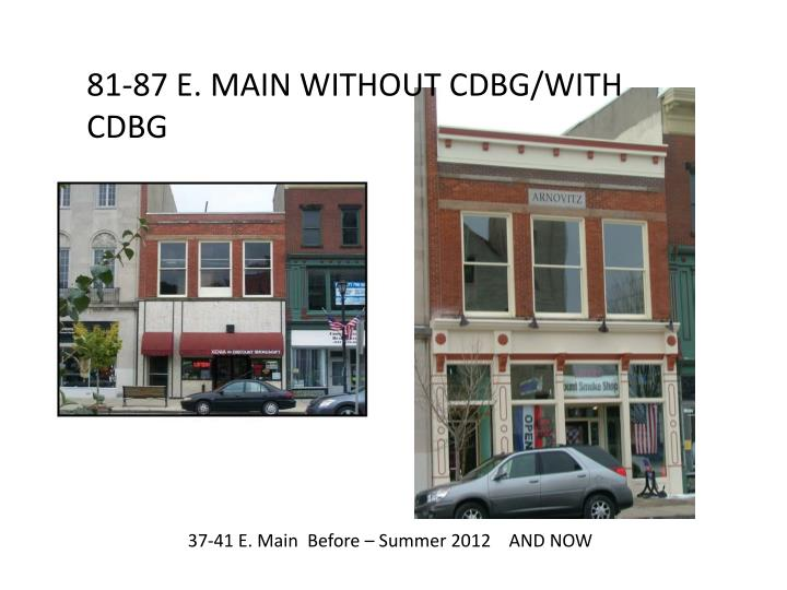 81-87 E. MAIN WITHOUT CDBG/WITH CDBG