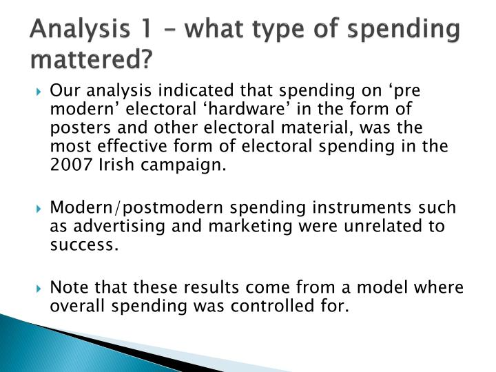 Analysis 1 – what type of spending mattered?