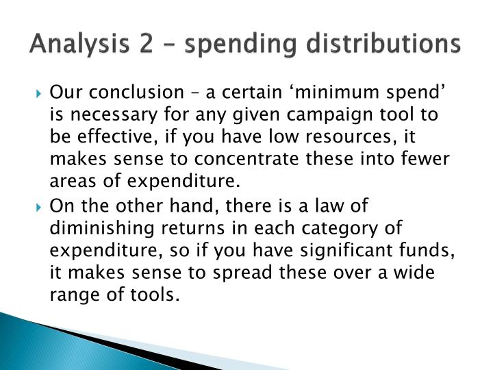 Analysis 2 – spending distributions
