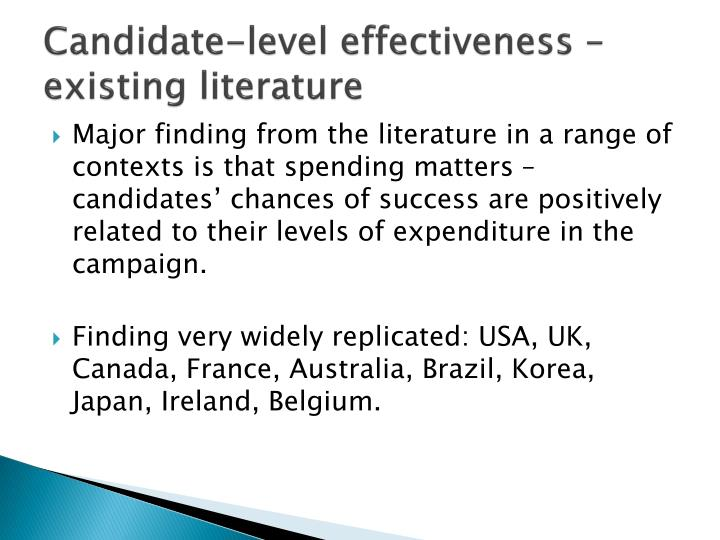 Candidate-level effectiveness – existing literature