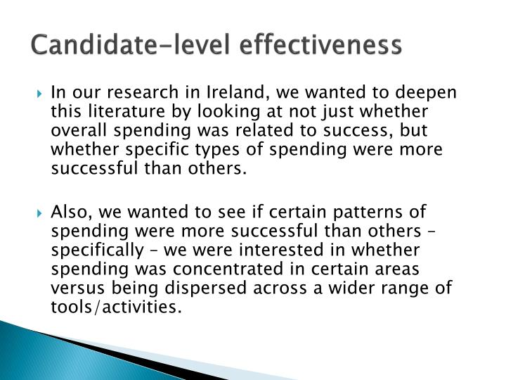 Candidate-level effectiveness