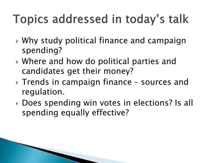 Topics addressed in today's talk