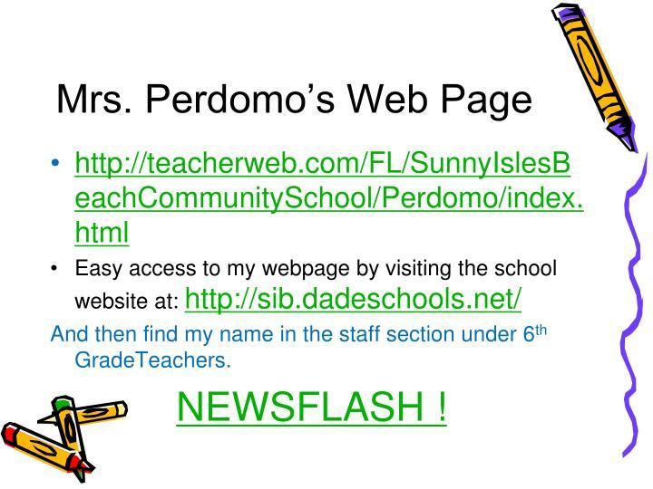 Mrs. Perdomo's Web Page