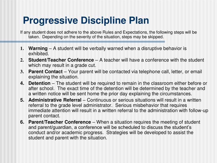 Progressive Discipline Plan
