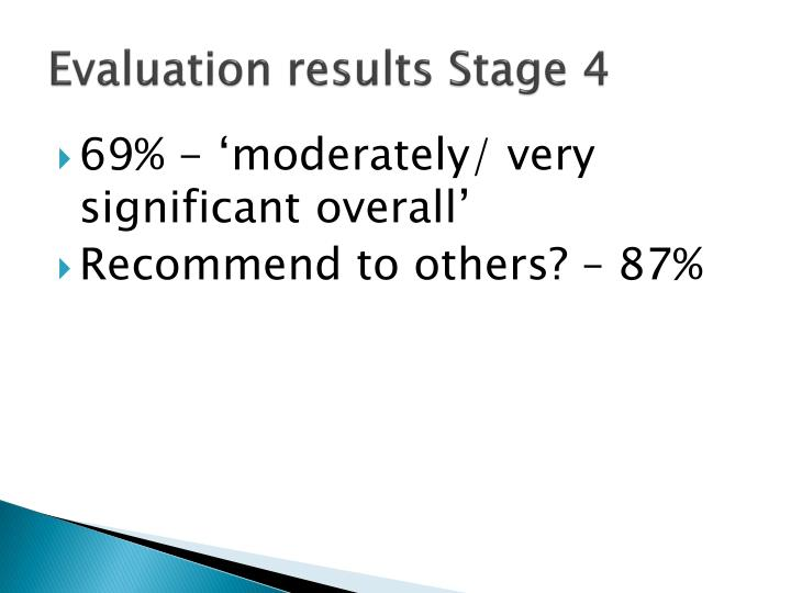 Evaluation results Stage 4