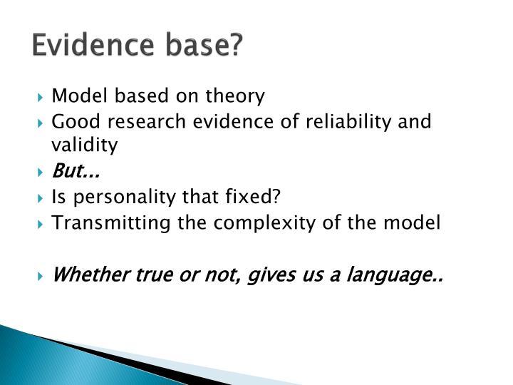 Evidence base?