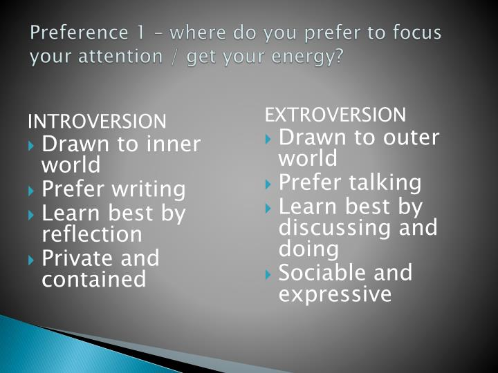 Preference 1 – where do you prefer to focus your attention / get your energy?