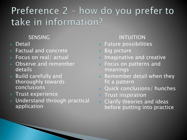 Preference 2 – how do you prefer to take in information?