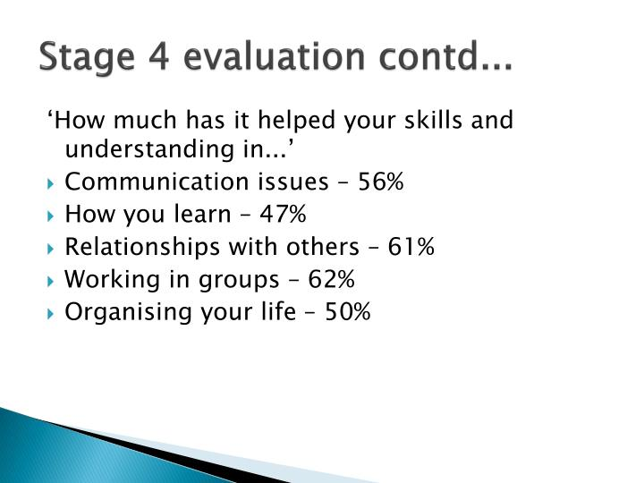 Stage 4 evaluation contd...