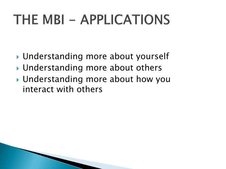 THE MBI - APPLICATIONS