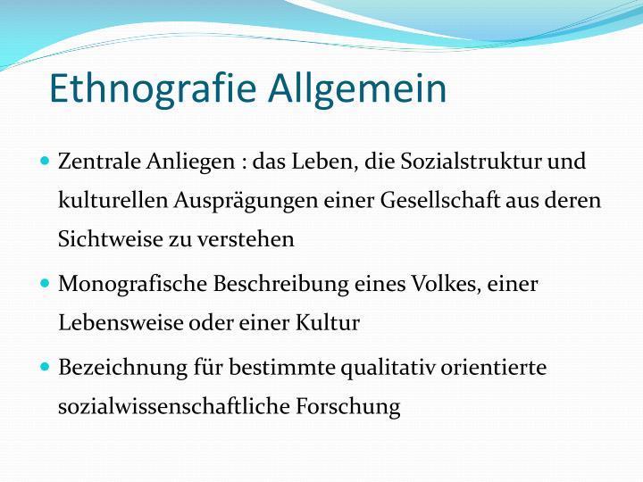 Ethnografie Allgemein