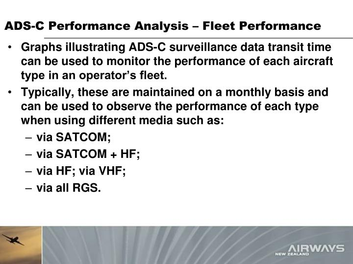 ADS-C Performance Analysis – Fleet Performance