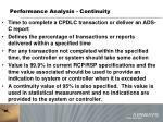 performance analysis continuity