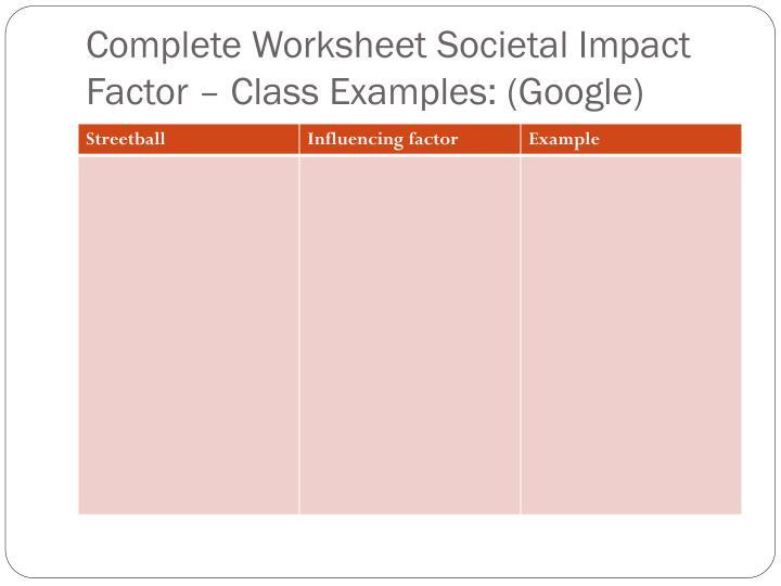 Complete Worksheet Societal Impact Factor – Class Examples: (Google)