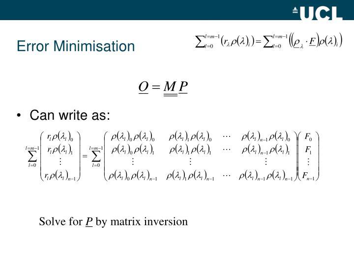Error Minimisation