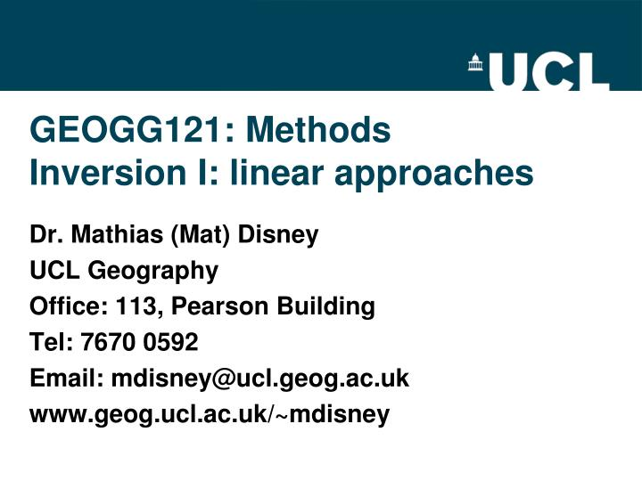 Geogg121 methods inversion i linear approaches