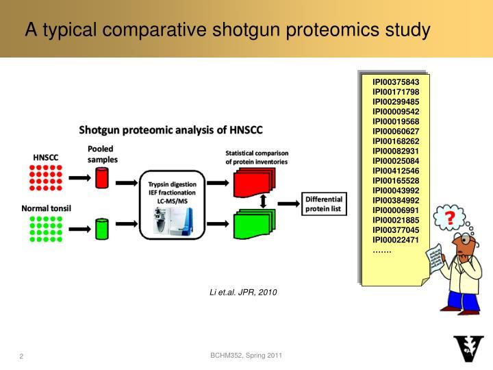 A typical comparative shotgun proteomics study