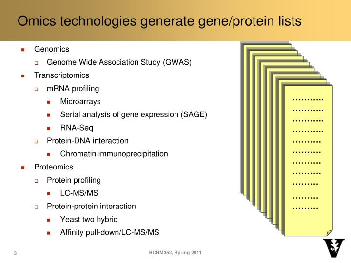 Omics technologies generate gene protein lists
