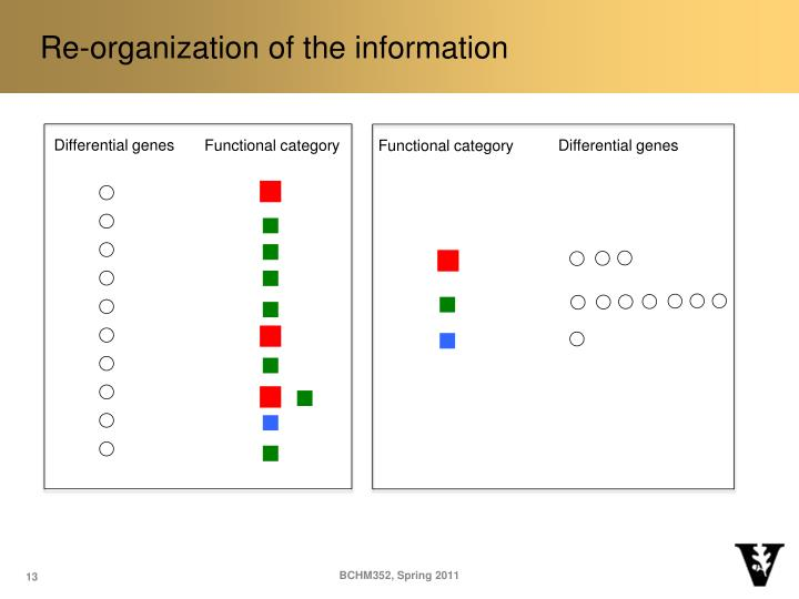 Re-organization of the information