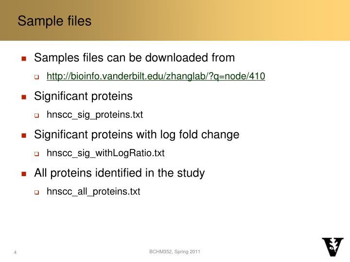 Sample files