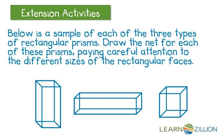 Below is a sample of each of the three types of rectangular prisms. Draw the net for each of these prisms, paying careful attention to the different sizes of the rectangular faces.
